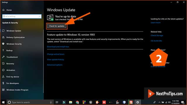 How to update windows 10 step 2