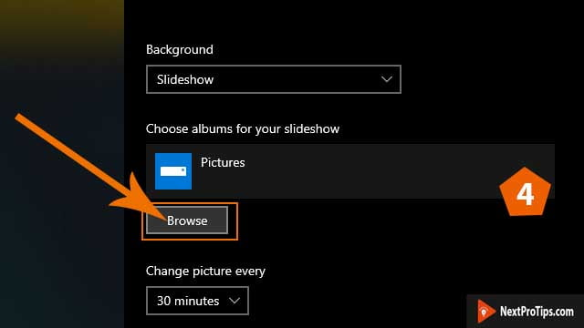 how to create slideshow background on windows 10 step 4