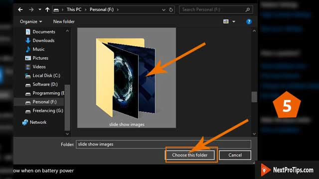 how to create slideshow background on windows 10 step 5