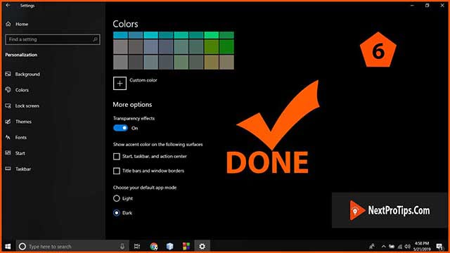 How to enable Windows 10 dark mode step 6