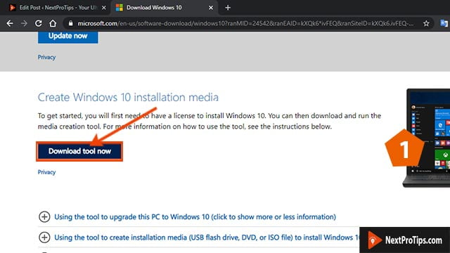 How to make a bootable USB for windows 10 using media creation tool step 1