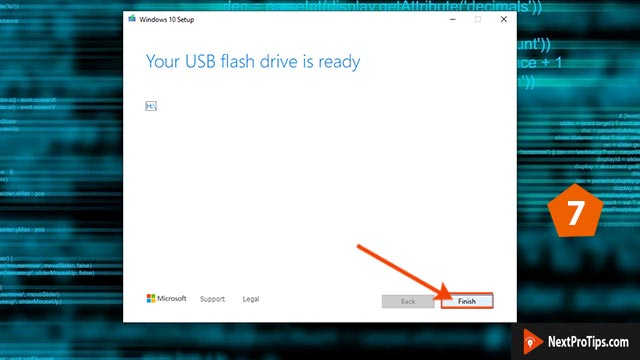 How to make a bootable USB for windows 10 using media creation tool step 7