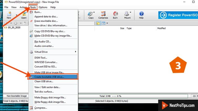 How to make a bootable usb for windows 10 power iso step 3
