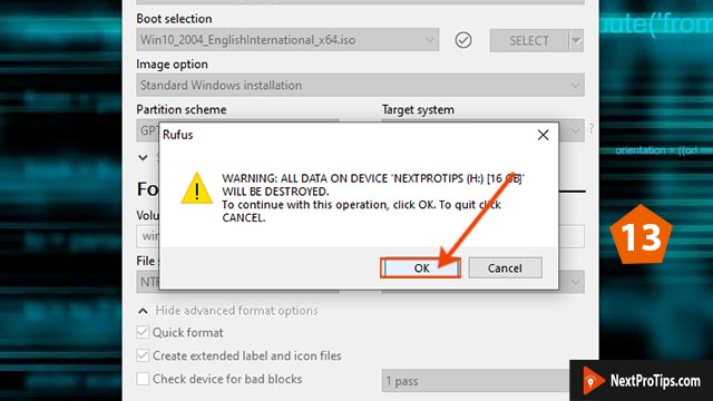 Create bootable USB from ISO using Rufus step 13