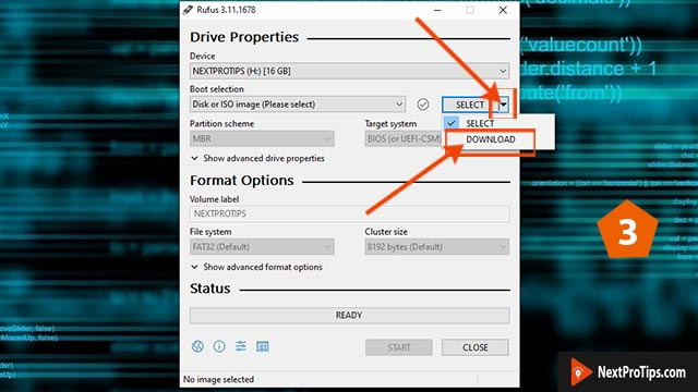 create bootable usb from iso using rufus step 3